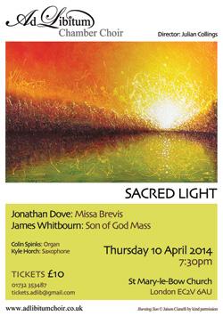 Ad Libitum Chamber Choir flyer Spring 2014