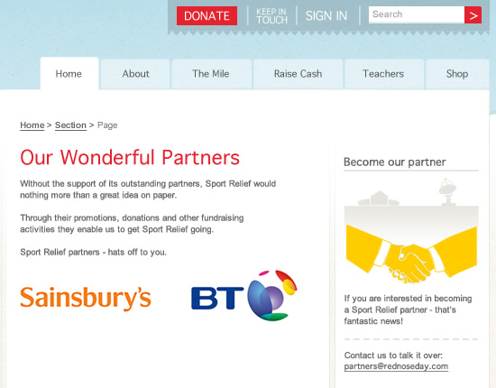Sport Relief - Partners page detail