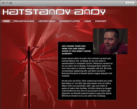 Hatstandy Andy: website home with welcome message