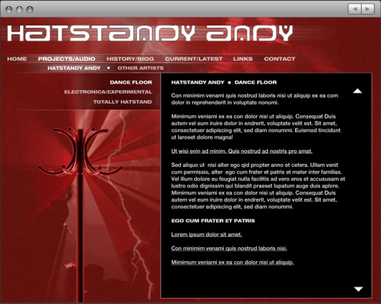 Hatstandy Andy: website page