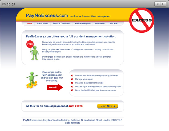 Pay No Excess website: Home
