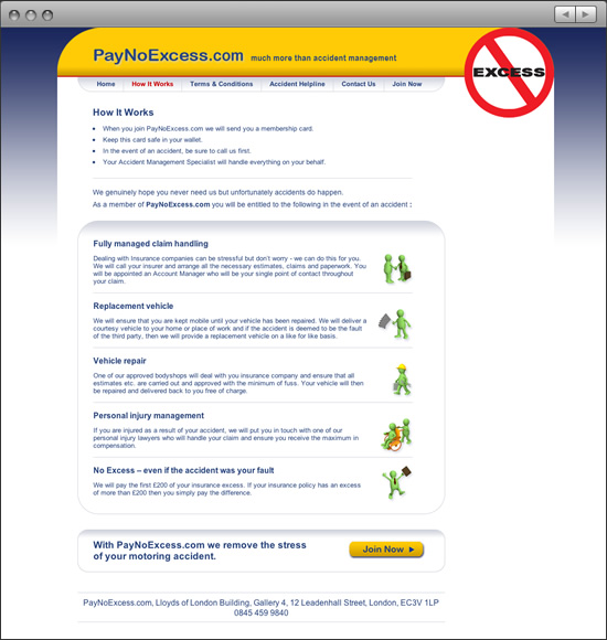 Pay No Excess website: How it Works