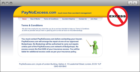 Pay No Excess website: Terms & Conditions