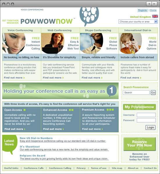 Powwownow website home Phase 2