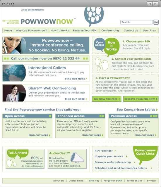 Powwownow website home Phase 1
