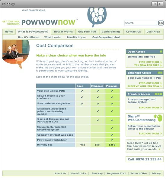 Powwownow website Cost Comparison page